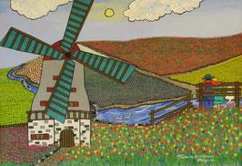 "Naive Kunst / Bilder / Gouache / Aquarell figurativ: ""  Tulpen in Amsterdam """
