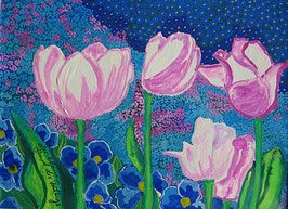 Naive Kunst / Bilder /Aquarell gegenständlich:  Das blaue Band des Frühlings