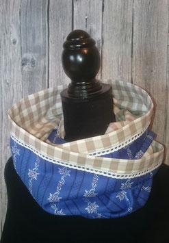 Doppelter Damenloop Edelweiss königsblau mit Karo taupe/weiss und Spitze weiss