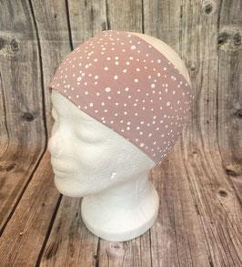 Stirnband Erwachsene und Kinder ab ca. Schulalter, Sprenkel auf rosa, Gr. 1 (Kopfumfang 53-56cm)
