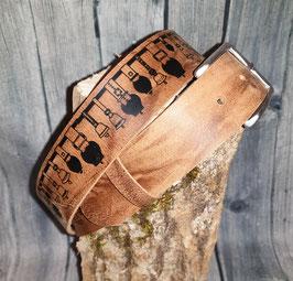 Glockenstolz Ledergurt BRAUN/CARAMEL MARMORIERT