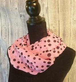 Doppelter Damenloop aus Chiffon, Black Dots auf rosa