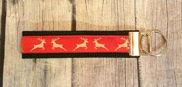Schlüsselanhänger Hirsche rot auf schwarz