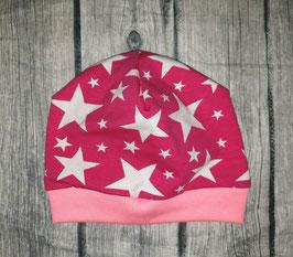 Baby-Beanie bis 6 Monate, Sterne weiss auf pink