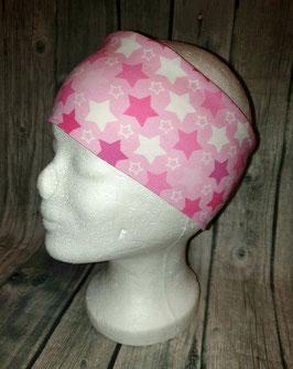 Stirnband Erwachsene und Kinder ab ca. Schulalter, Sterne rosa/pink/weiss, Gr. 1 (Kopfumfang 53-56cm)
