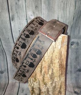 Glockenstolz Ledergurt GRAU BRAUN