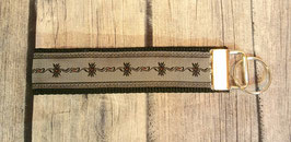 Schlüsselanhänger Edelweiss grau auf schwarz