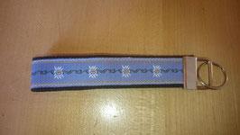 Schlüsselanhänger Edelweiss blau auf schwarz