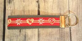 Schlüsselanhänger Alpenchic rot auf grau