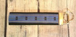 Schlüsselanhänger Edelweiss dunkelblau auf schwarz
