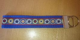Schlüsselanhänger Stars in Kreisen auf blau