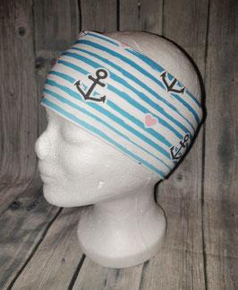 Stirnband Erwachsene und Kinder ab ca. Schulalter, Ankerliebe, Gr. 1 (Kopfumfang 53-56cm)