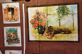 Baumwollstoff Katzen-Panel