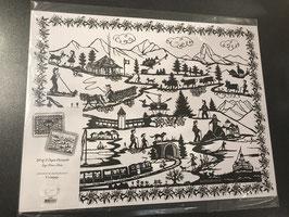 Papier Tischset mit Scherenschnitt Motiv