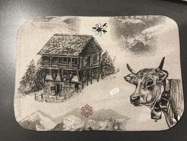 Stoff Tischset mit  Kuh, Gemse, Alphütte