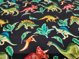 French Terry Dinosaurier bunt