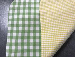 Stoff Tischset mit  grün-weiss und gelb-weiss Karo