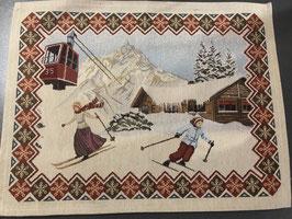 Tischset mit Skifahrer Nostalgie, 2 verschiedene Muster