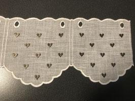 Kurzvorhang in Leinenoptik weiss mit Herzchen braun