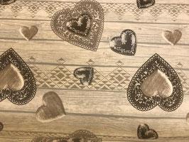 Wachstuch Herzen auf Holz in 2 Farben
