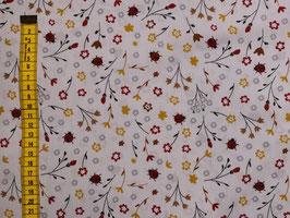 Baumwollstoff Marienkäfer und Blumen in 2 Farben