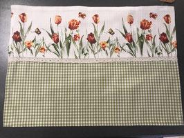 Stoff Tischset mit  Tulpen und Spitze