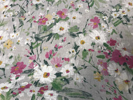 Leinen Stoff mit handgemalten Blumen