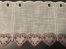 Kurzvorhang Leinenoptik weiss mit roten oder beigen Herzchen
