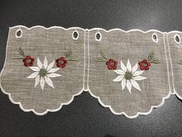Schöner Kurzvorhang mit Alpenblumen Edelweiss in Leinenoptik beige