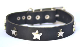 Hundehalsband Sterne 1 schwarz Leder Bolleband