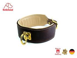Schweißhalsung Leder braun creme Nachsuchehalsband