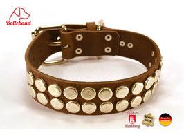 Hundehalsband Button 4,0  dunkelbraun Leder Bolleband