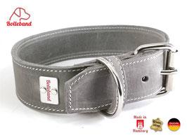 Bolleband Lederhalsband Classic 4,0 grau-creme