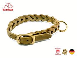 Lederhalsband geflochten oliv Gringo 23 mm breit