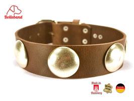 Hundehalsband Button 4,5  dunkelbraun Leder Bolleband