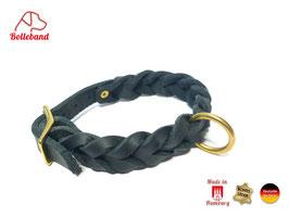 Flechthalsband schwarz, 30 mm breit, Messingverschluß