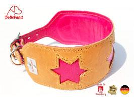 Windhundhalsband 4 Seasons 1  cognac pink - Leder - Bolleband