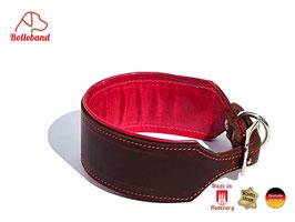 Windhundhalsband Classic 4,5 Leder braun pink gepolstert