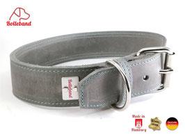 Bolleband Lederhalsband Classic 4,0 grau-türkis
