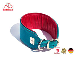 Windhundhalsband Classic 6,0 Leder türkis pink gepolstert