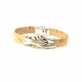 """Armband """"Hand und Pfote"""" Kork natur,"""