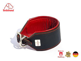 Windhundhalsband Classic 6,0 Leder schwarz rot gepolstert