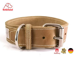 Bolleband Lederhalsband Classic 4,0 oliv-creme