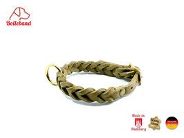 Flechthalsband oliv, 18 mm breit, Messingverschluß