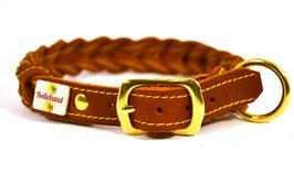 Gringo classic 30 mm breit cognac/gelb, Flechthalsband