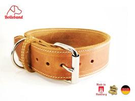 Bolleband Lederhalsband Classic 4,0 cognac-creme