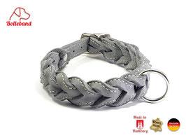Gringo classic 30 mm breit grau/creme, Flechthalsband