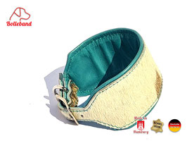 Windhundhalsband  Kuh ca. 6,5 cm türkis gepolstert