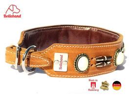 Windhundhalsband Canada 4,0 cognac  Leder Bolleband