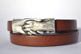 """Armband """"Hand und Pfote"""" braun ,2-fach"""
